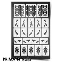 Трафарет для ногтей PrimaNails.NEW SIZE Растительный узор - 1
