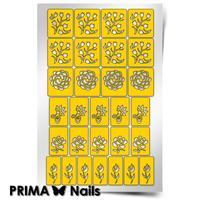 Трафарет для дизайна ногтей PrimaNails. Цветочный микс 1