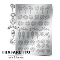 Металлизированные наклейки TRAFARETTO. Арт. FL-01, Серебро