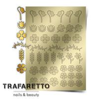 Металлизированные наклейки TRAFARETTO. Арт. FL-01, Золото