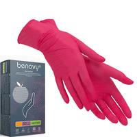 Перчатки BENOVY Nitrile MultiColor (блок)  КРАСНЫЕ - M