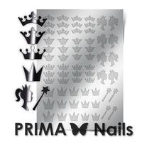 Металлизированные наклейки Prima Nails. Арт.PR-002, Серебро