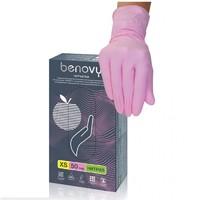 Перчатки BENOVY Nitrile MultiColor (блок)  РОЗОВЫЕ - S