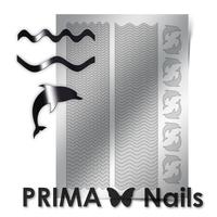 Металлизированные наклейки Prima Nails. Арт.SEA-002, Серебро