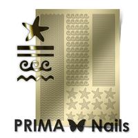 Металлизированные наклейки Prima Nails. Арт.SEA-003, Золото