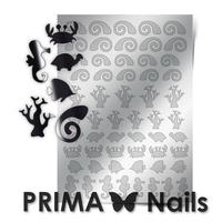Металлизированные наклейки Prima Nails. Арт.SEA-005, Серебро