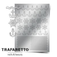 Металлизированные наклейки TRAFARETTO. Арт. Sea-01, Серебро