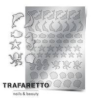 Металлизированные наклейки TRAFARETTO. Арт. Sea-04, Серебро