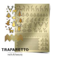 Металлизированные наклейки TRAFARETTO. Арт. W-03, Золото
